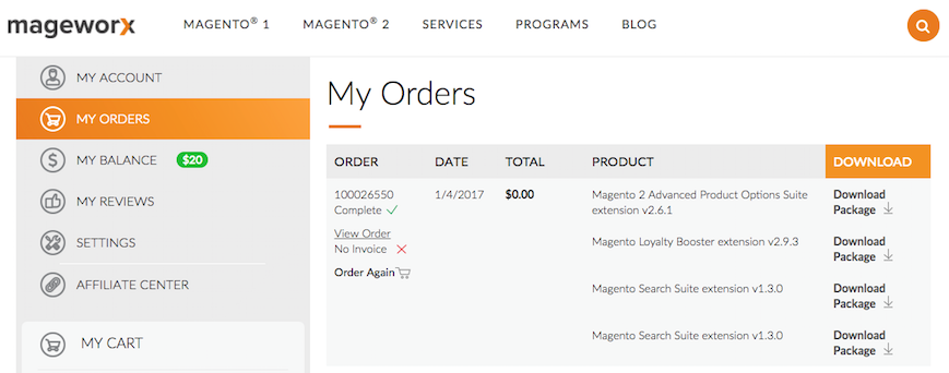Mageworx Customer Account