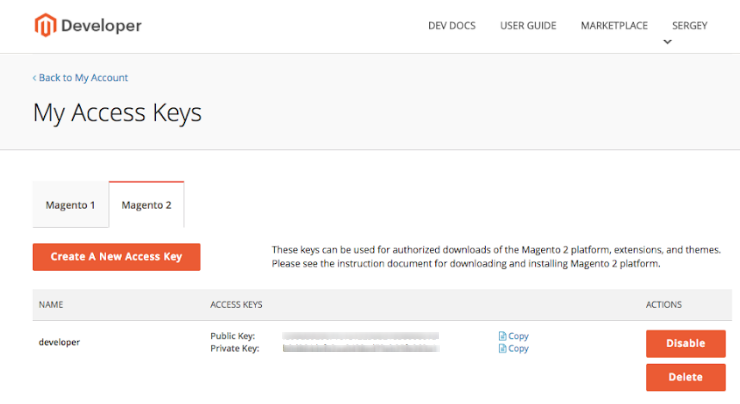 Magento Marketplace Keys