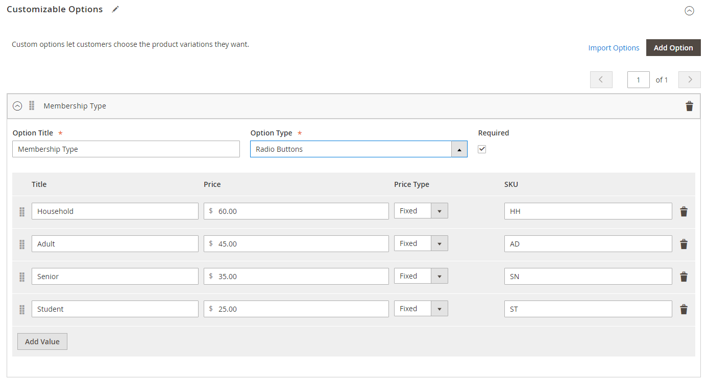 Magento Custom Options
