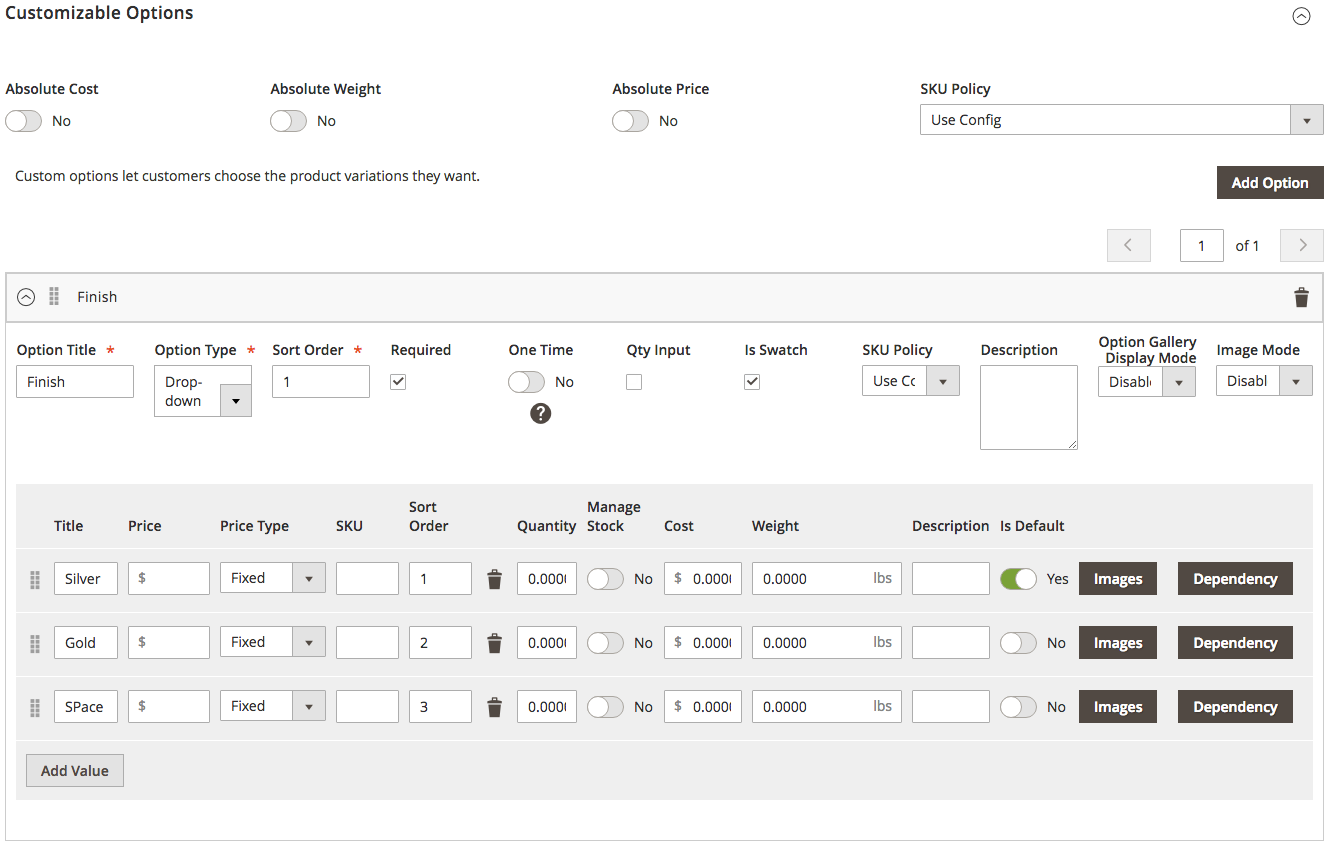 Mageworx Option Template Customizable Options