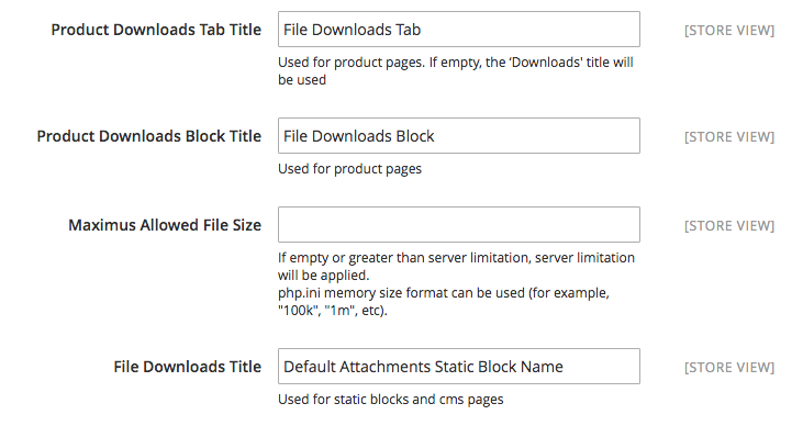 File Downloads Configuration