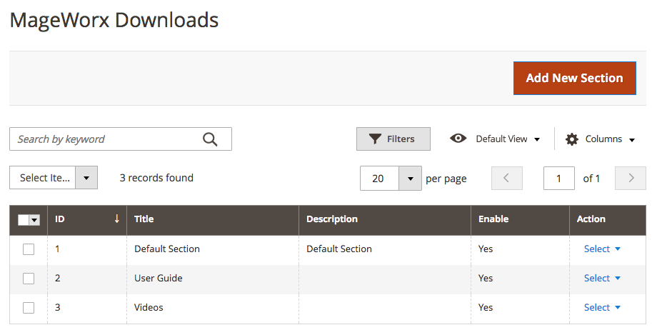 File Downloads Sections