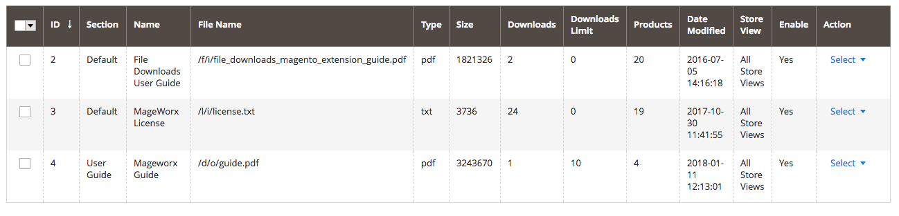 File Downloads Sections Configuration
