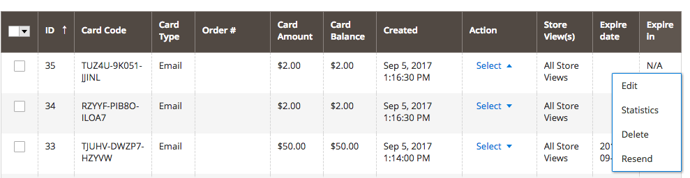 Mageworx Gift Card Actions
