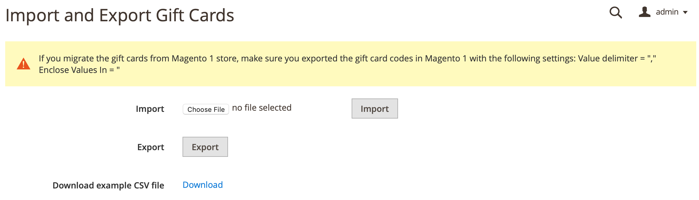 Mageworx Gift Card Codes Import/Export