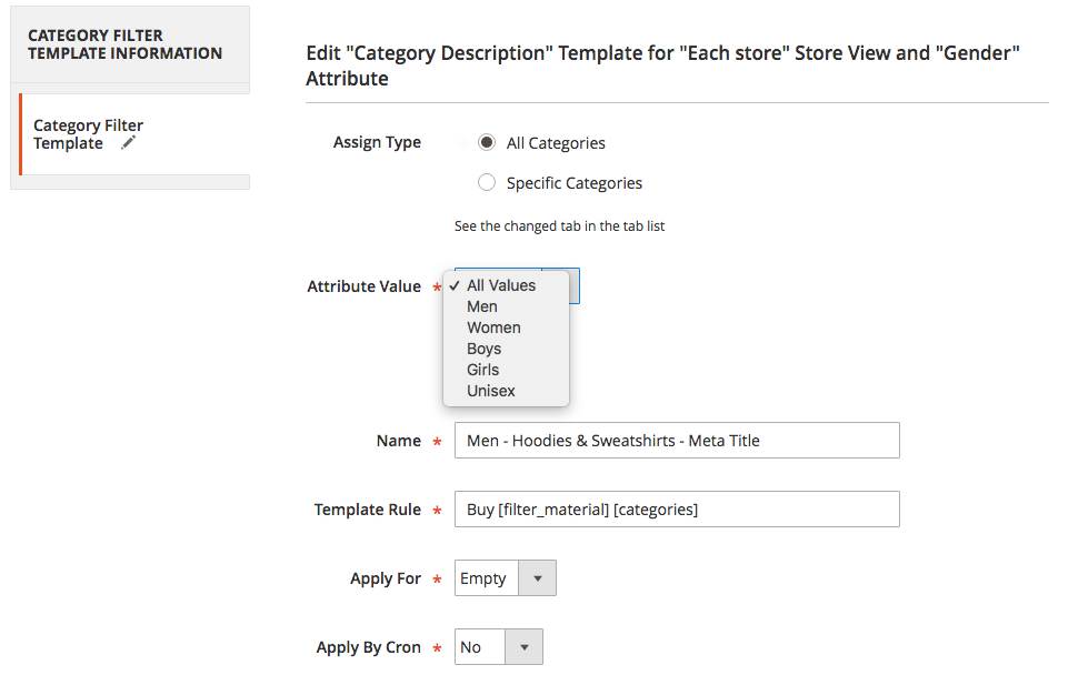 SEO Templates Categories